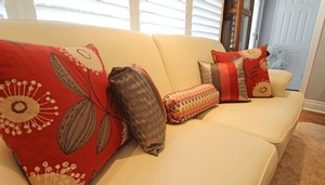 Decorative Throw Pillows and Bolster on Sofa - Pillows and Accessories by Sensational Seams