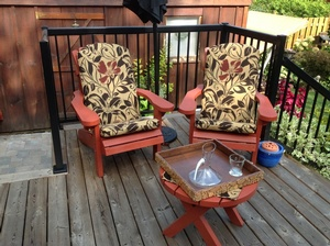 Wooden Adirondack Chairs with Cushions - Outdoor Living Space Planning by Sensational Seams